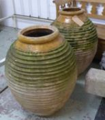 OLIVE JARS, a near pair, terracotta, 85cm H. (with slight faults) (2)