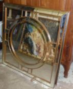 MIRRORS, a pair, contemporary design with a circular bevelled central plate in a square frame with