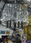 CHANDELIERS, a pair, contemporary design, cut glass and black painted metal, 40cm drop approx