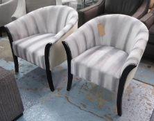 TUBCHAIRS, a pair, contemporary striped velvet finish, 72cm W. (2)