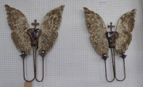 WALL SCONCES, a pair, winged design, two branch, 80cm x 62cm. (2)
