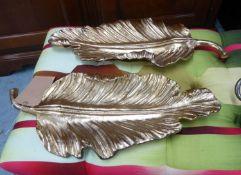 PALM LEAF TRAYS, stylised gilt metal, 57cm x 24cm.