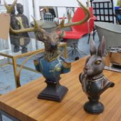 ADMIRAL STAG AND COMMANDER RABBIT, polychrome finish, 60cm at tallest approx. (2)