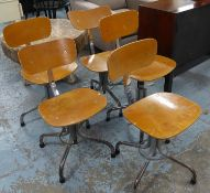 MACHINISTS CHAIRS, a set of five, vintage 20th century, approx 79cm H at tallest. (5) (with faults)