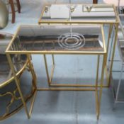 SIDE TABLES, a pair, 1960's French style, gilt metal and glass, 56cm x 30.5cm x 66cm (2).
