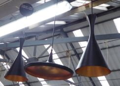 PENDANT LIGHTS, a collection of three, including a pair and one of different shade, contemporary