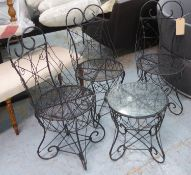 GARDEN SET, French style wire work, including three chairs 90cm H and side table. (4) (slight