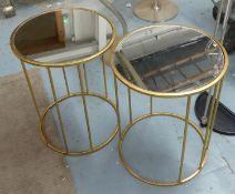 SIDE TABLES, a pair, contemporary, gilt metal and glass, 46cm H x 36cm diam. (2)
