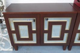 SIDE CABINETS, a pair, each with a pair of doors with mirrored detail, 39cm x 81cm H x 102cm. (2)