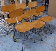 MACHINISTS CHAIRS, a set of six, vintage 20th century, approx 79cm H at tallest. (6) (with faults)