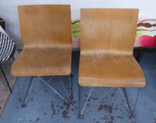 SIDE CHAIRS, a pair, contemporary plywood design, 81cm H. (2) (with slight faults)