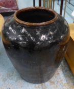 PLANTER, contemporary brown glazed finish, 73cm H.