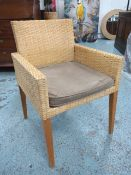 LAMPBERT DINING CHAIRS, a set of five, in rattan on square tapered supports, with alcantara squab