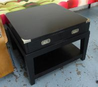 SIDE TABLES, campaign style, ebonised finish with one drawer each, 67cm x 67cm x 50.5cm. (2)