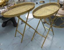 SIDE TABLES, a pair, gilt metal with feather pattern design, 64cm x 34cm x 68cm. (2)
