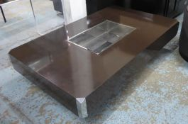 AFTER WILLY RIZZO ALVEO TABLE, Vintage with a central bar compartment, 130cm W x 33cm H x 80cm D. (