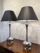TABLE LAMPS, a pair, contemporary Andrew Martin style chrome, 85cm H. (2) (with shades)