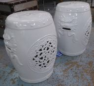 BARREL STOOLS, a pair, Chinese Export style blanc de chine, 45.5cm H. (2)