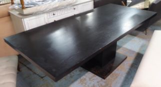 DINING TABLE, contemporary ebonised design. (with faults)