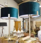 TABLE LAMPS, a pair, contemporary design, green velvet shades, 59cm H approx. (2)