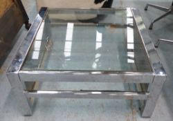 LOW TABLE, vintage 1970's with chrome and glass with smoked glass sides, 80cm D x 80cm W x 35cm H.