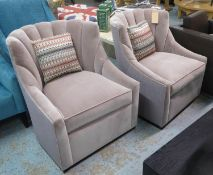 LOUNGE CHAIRS, a pair, sculpted back design, velvet upholstered, each with cushion, patterned