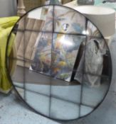 WALL MIRROR, contemporary with antiqued segmented plate, 100cm diam.
