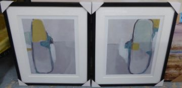 CONTEMPORARY SCHOOL, untitled diptych, framed and glazed, 69cm x 58cm per panel. (2)