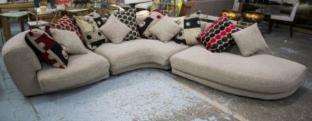 ROCHE BOBOIS CORNER SOFA, taupe fabric in three parts with eleven various scatter cushions, 66cm H x