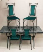 DINING TABLE AND FOUR CHAIRS, 1970s with a formica top on black metal base, 168cm L x 76cm W x