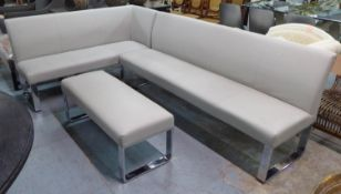 CORNER SETTLE AND BENCH, includes corner bench and associated free standing bench, 160cm x 260cm x
