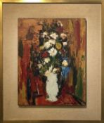 K. J. VAN DEN HENA 'Still Life', oil on board, signed, labelled verso, 47cm x 36.5cm, mounted on