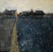 SHENA BULCOCK (Contemporary British School) 'Landscape with Farm', oil on board, 62cm x 62cm, box