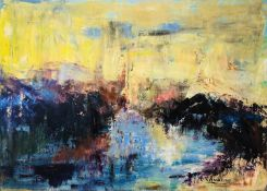 LUCIE SAVARINO 'Landscape', oil on canvas, signed and dated 2010 verso, 51cm x 70cm.