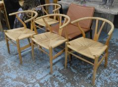 AFTER HANS J WEGNER WISHBONE STYLE CHAIRS, a set of four, each 58cm W. (4) (with faults)