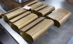 PORTA ROMANA METAL CURL WALL LIGHTS, a set of six, French brass finish, 30cm x 22cm x 9cm. (6)