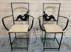 JAQUES DUFRESNE SIDE CHAIRS, a pair, bronze, bears signature, 92cm H. (2)