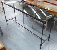 OKA POMPIDOU CONSOLE TABLE, metal framed wih a rectangular glass top, 161cm L x 84cm H x 40cm D.