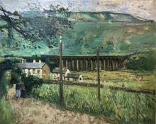 JOHN BOYD (b. 1957, Carlisle) 'Dorset Landscape Hewenden Viaduct', oil on canvas, signed, 61cm x