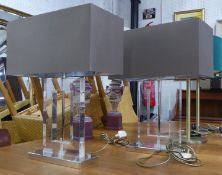 PORTA ROMANA RECTANGULAR POLO TABLE LAMPS, a pair, with shades, 58cm H. (2)