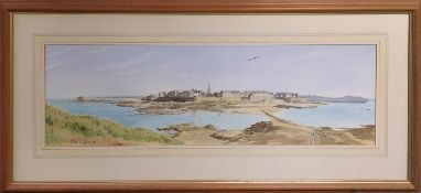 ANDREW DIBBEN (British) 'St. Malo from the Ile de Grand', watercolour, signed, 22cm x 72cm, framed.