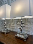 COACH HOUSE TABLE LAMPS, a pair, contemporary coral design with shades, 70cm H. (2)