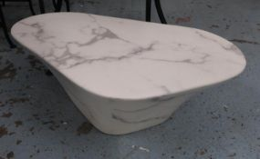 POLS POTTEN OVAL MARBLE LOOK WHITE COFFEE TABLE, by Pols Potten Studio, 80cm x 50.5cm x 30.5cm