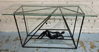 JAQUES DUFRESNE CONSOLE TABLE, bronze with glass top, bears signature, 128cm x 44cm x 70cm.