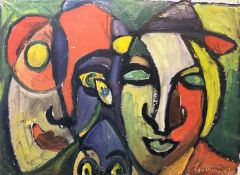 EYVIND OLESEN (1907-1995) 'Heads', oil on canvas, 65cm x 90cm, signed. (Subject to ARR - see