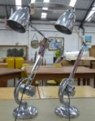 COUNTERPOISE DESK LAMPS, a pair, vintage 1950's English, 87cm at tallest. (2)