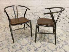 AFTER HANS J WEGNER WISHBONE STYLE CHAIRS, a pair, vintage steel framed with stitched brown