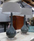 HEATHFIELD & CO ELENOR GRAPHITE TABLE LAMPS, a pair, 71cm H. (2) (slight faults)