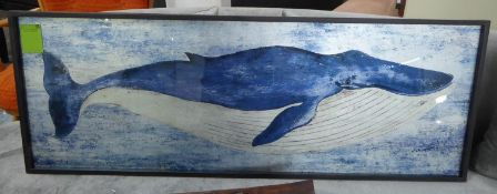 CONTEMPORARY SCHOOL, study of a whale, framed, 120cm x 43.5cm.