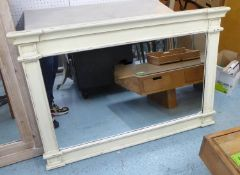 SWEDISH STYLE OVERMANTEL MIRROR, in a distressed painted finish, 120cm x 83cm H.